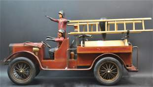 American Folk Art Wood Painted Fire Engine