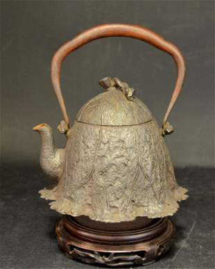 An Unusual Chinese Bronze Teapot & Cover.