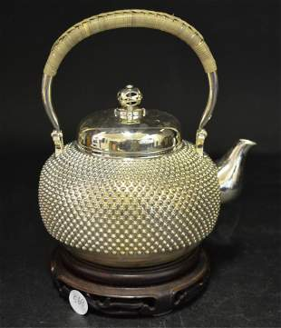 A Fine Chinese Silver Teapot & Cover