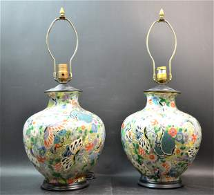 """A Pair of Chinese Porcelain """"Butterfly"""" Lamps"""