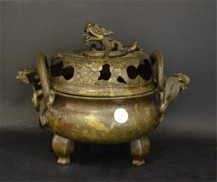 A Set of Two Large Chinese Bronze Censers