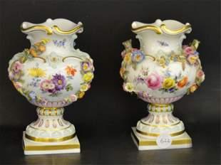 A Pair of Meissen Porcelain Floral Vases