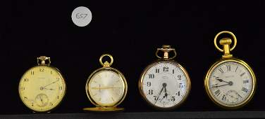 A Set of Four Gold Filled Pocket Watches