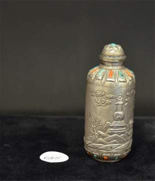 A Tibetan Silver, Turquoise, Coral Snuff Bottle