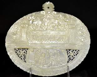 """A Mother of Pearl Carved Plaque, """"Last Supper"""""""