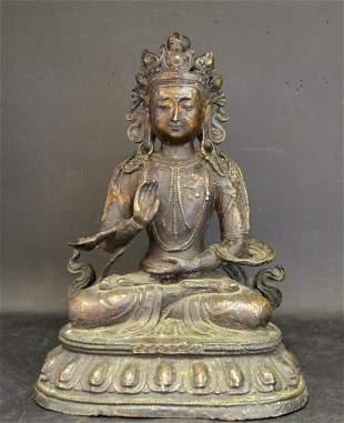 A Large Chinese Tibetan Bronze Seated Buddha