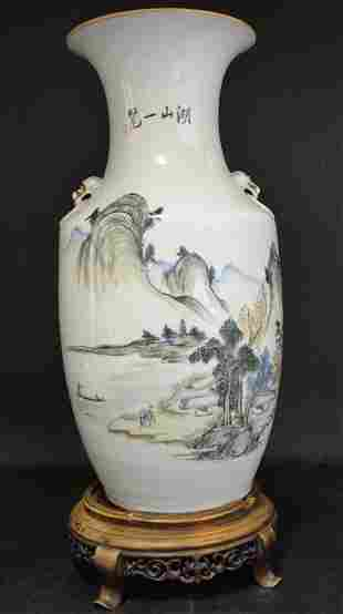 A Chinese Porcelain Famille Rose Vase on Wood Stand
