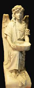 Large  Impressive Carrara Carved Marble Holy Water Font