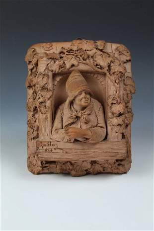 A Terracotta Relief by Graillon, Signed & Dated 1884