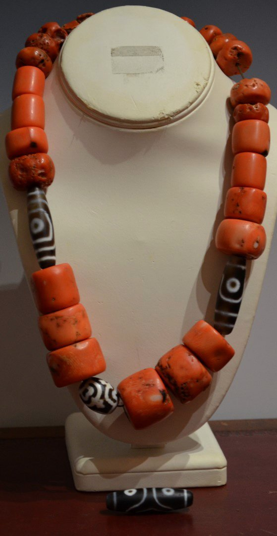 Chinese or Tibetan Coral and Dzi Bead Necklace
