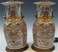 PR CHINESE MEDALLION ROSE PORCELAIN VASE LAMPS 19TH C