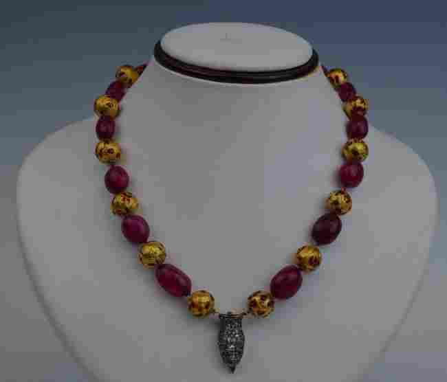Indian Ruby Gold Necklace w/ Diamond Pendant