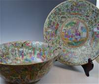 Two Chinese Rose Medallion Rose Bowl and Plate
