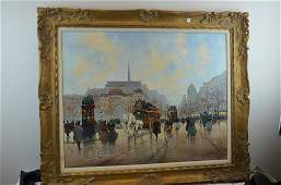 Parisian Oil on Canvas Painting