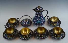 Russian Silver and Enamel Tea Set