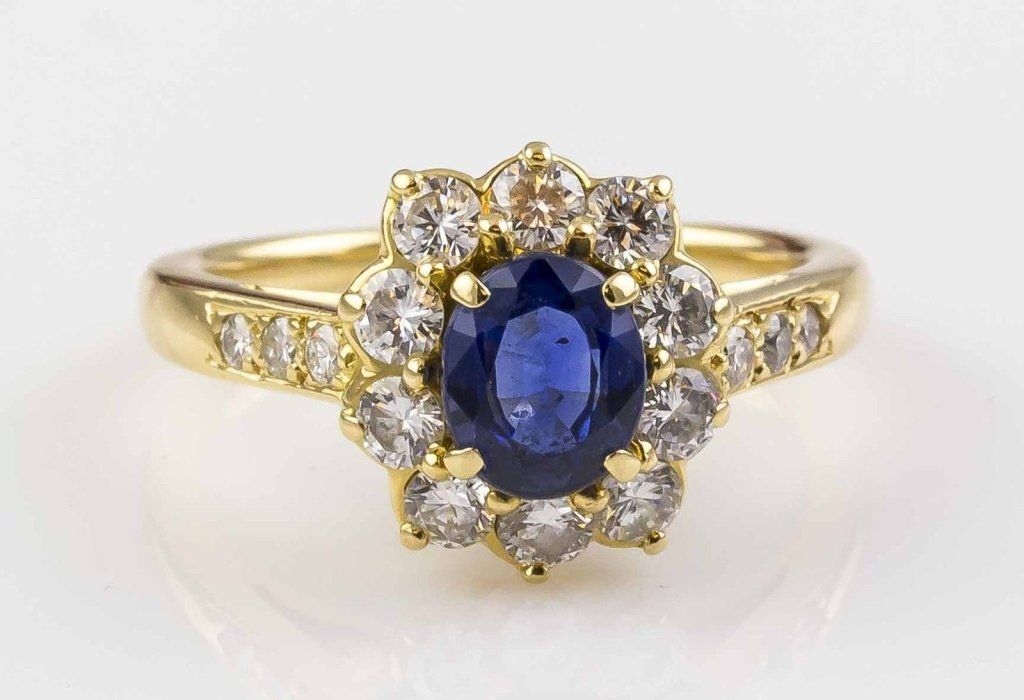 CARTIER Sapphire Diamond 18K Gold Ring