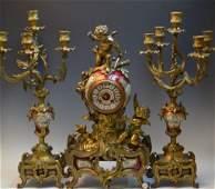 French Sevre Porcelain  Gilt Metal Mounted Clock