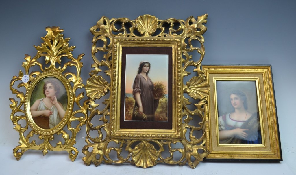 3 Porcelain Plaques in Carved Florentine Frames