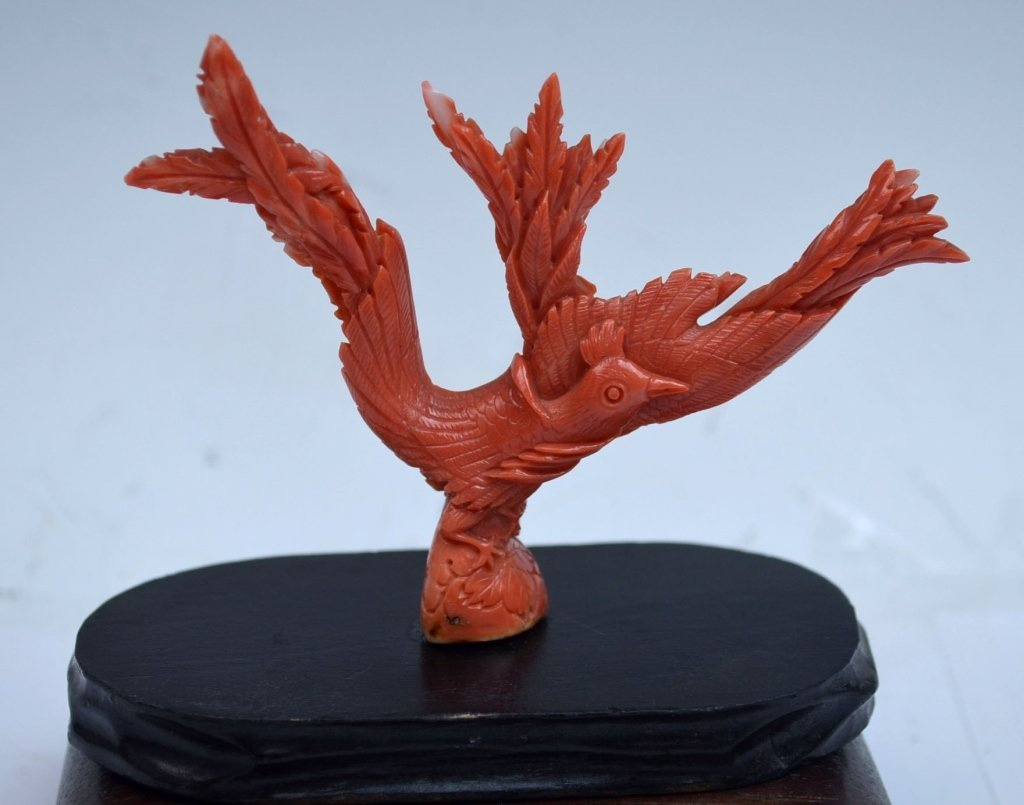 Chinese Coral Figure Bird