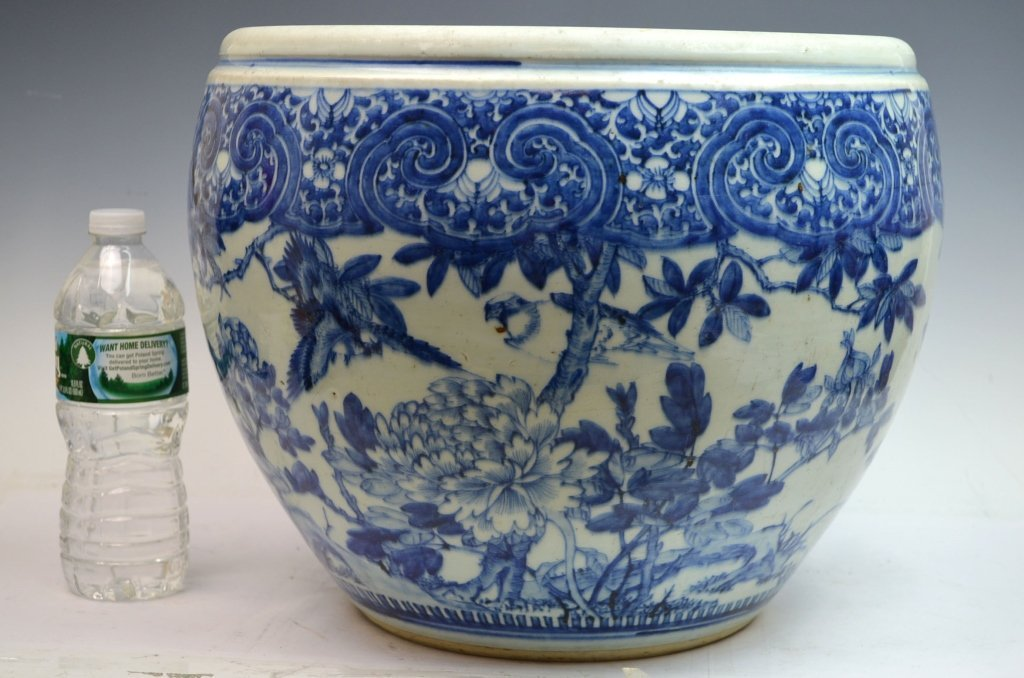Massive Chinese Blue and White Porcelain Planter
