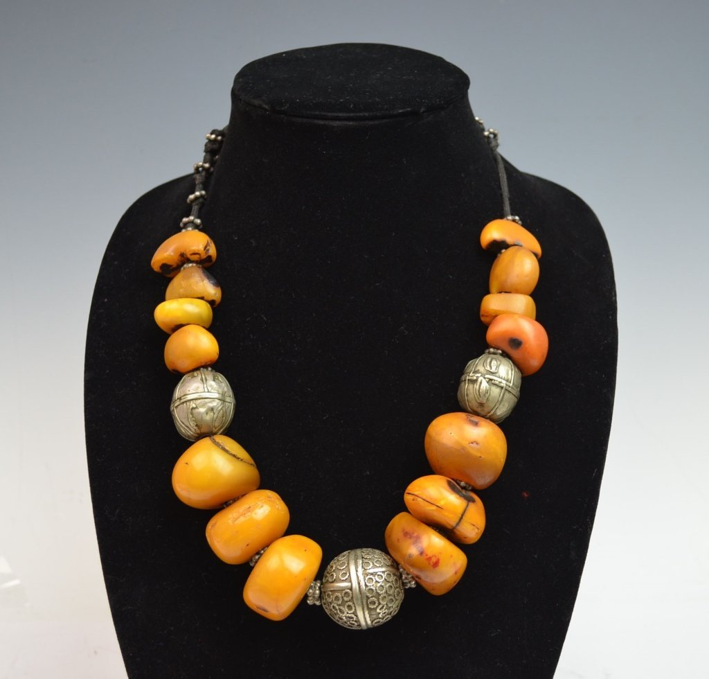 Chinese Amber and Silver Necklace