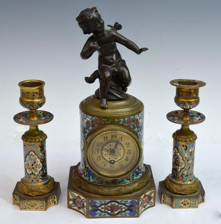 3 pieces Champleve Enamel Clock Set