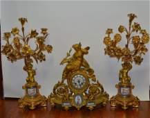 French Gilt Bronze  Enamel Clock Set