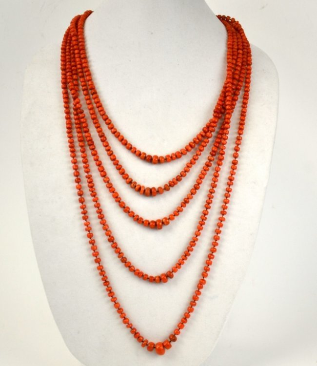 Fine Five Strand Coral Beaded Necklace