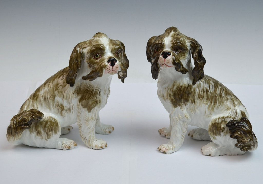 Pair of Meissen Porcelain Dogs