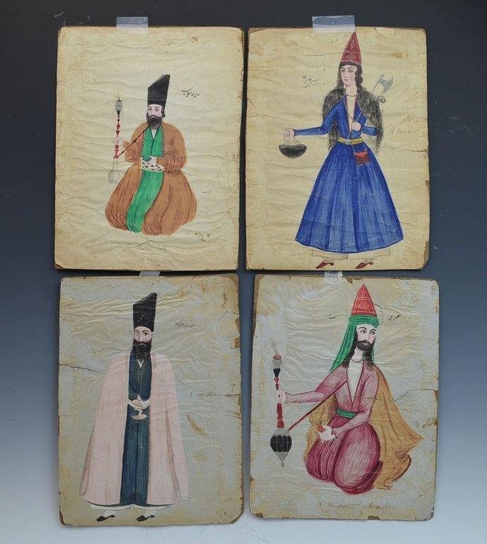 A Set of 19 QAJAR Iran Persian Paintings on Paper