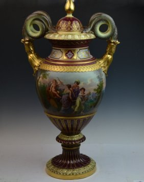 Large Royal Vienna Porcelain Lidded Vase