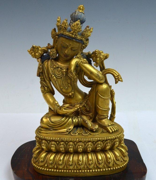 Chinese Gilt Bronze Bodhisattava Statue