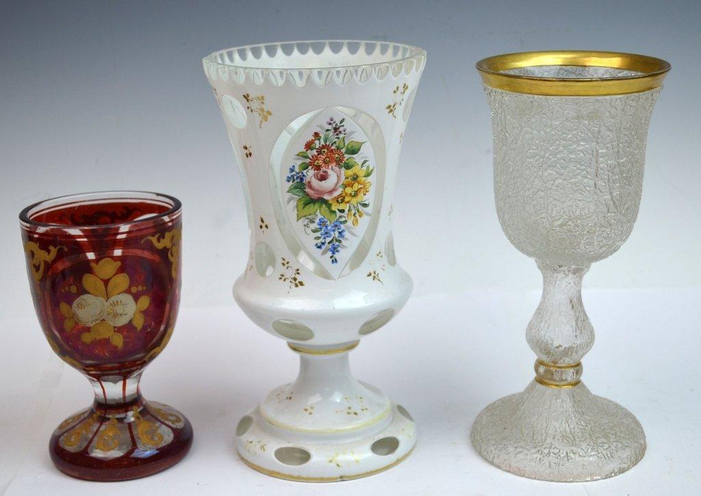 Three Bohemian Glass Goblets
