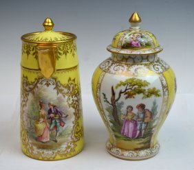 Two Pieces Of Dresden Porcelain Items