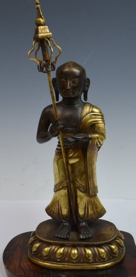 Chinese / Tibetan Gilt Bronze Bodhisattva Statue