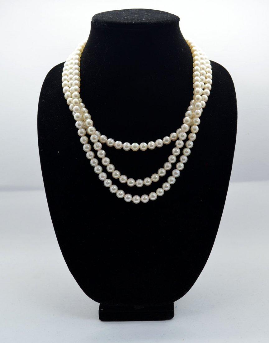 3 Strands Pearl Necklace W/ Diamond & 18K Gold Clasp