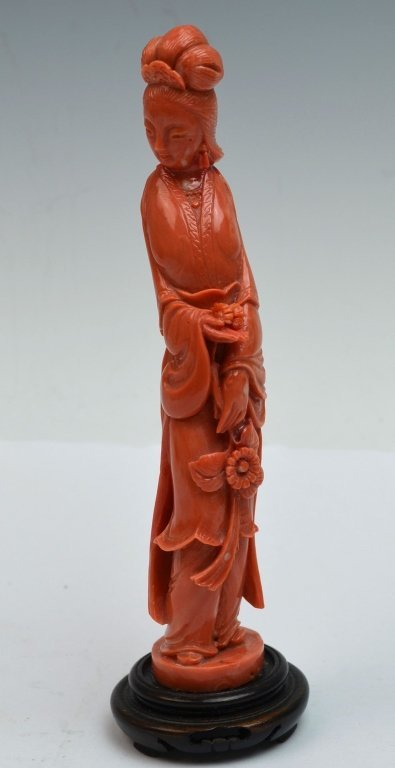 Chinese Coral Carved Guanyin Figure on Wood Stand