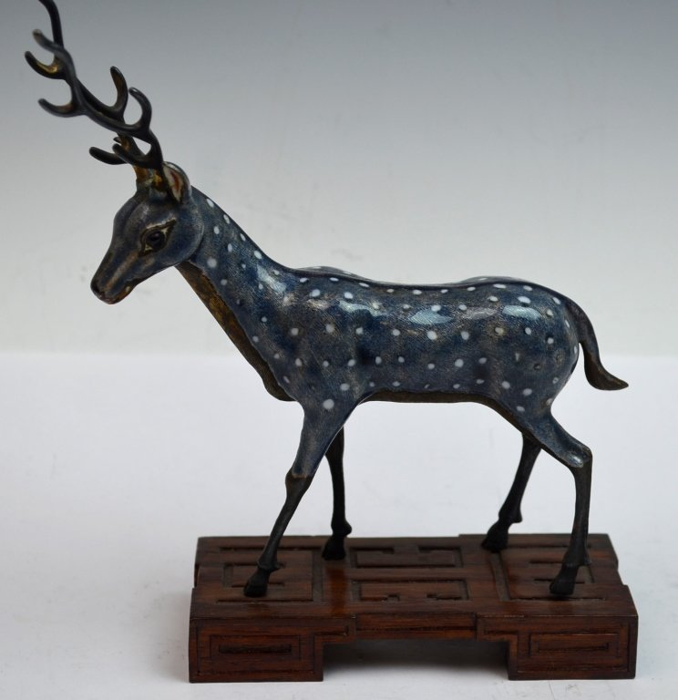 Chinese Cloisonne Figure of SikaDeer on Wood Stand