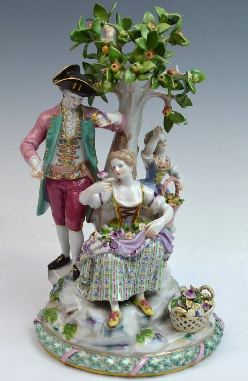 19th Century Meissen Group Figures Under The Tree