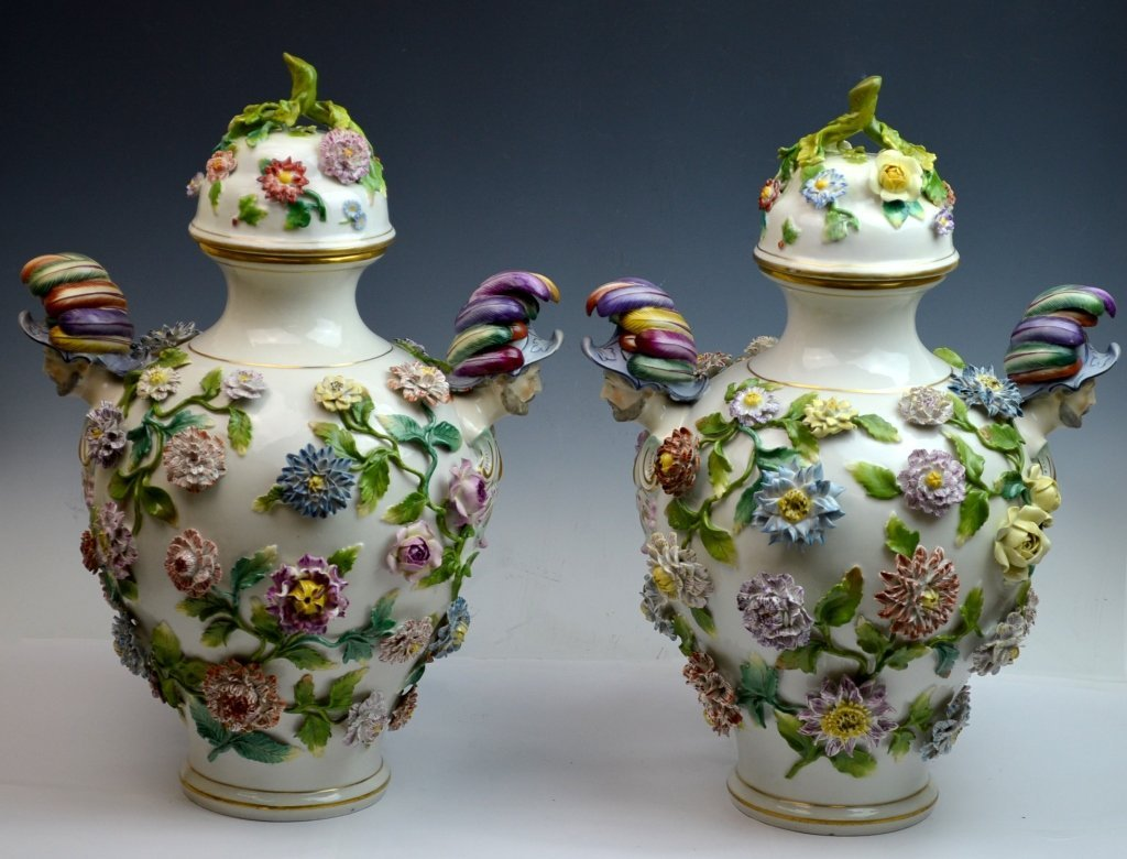 Pr. Early 19th C.  Meissen  Applied Flowers Vases