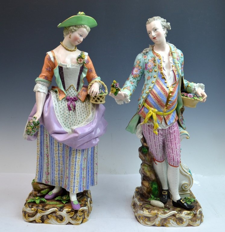 Pair of Meissen Porcelain Figures of Man & Woman