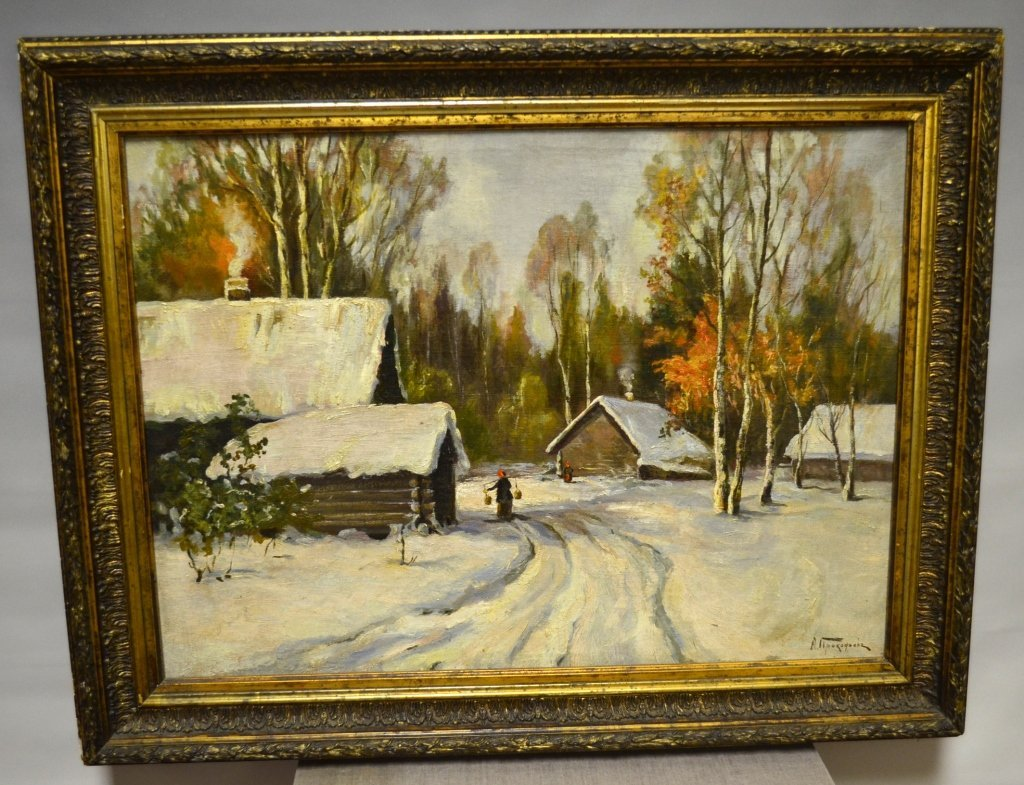 Russian  Oil Landscape Painting on Canvas Signed