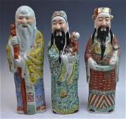 3 Chinese Famille Rose Porcelain Longevity Figures