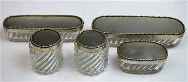 5 Pieces French Silver  Crystal Items Hallmark