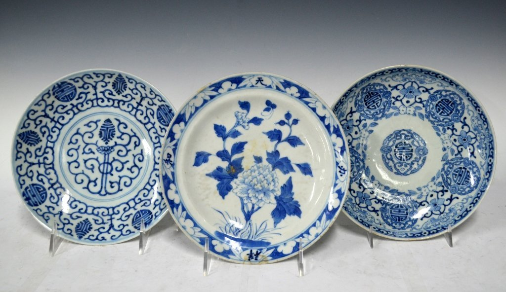 3 Chinese 19th Century B&W Porcelain Plates