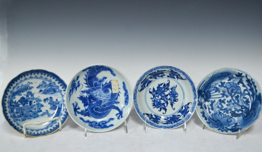 4 Chinese 18/19th Chinese B&W Porcelain Plates