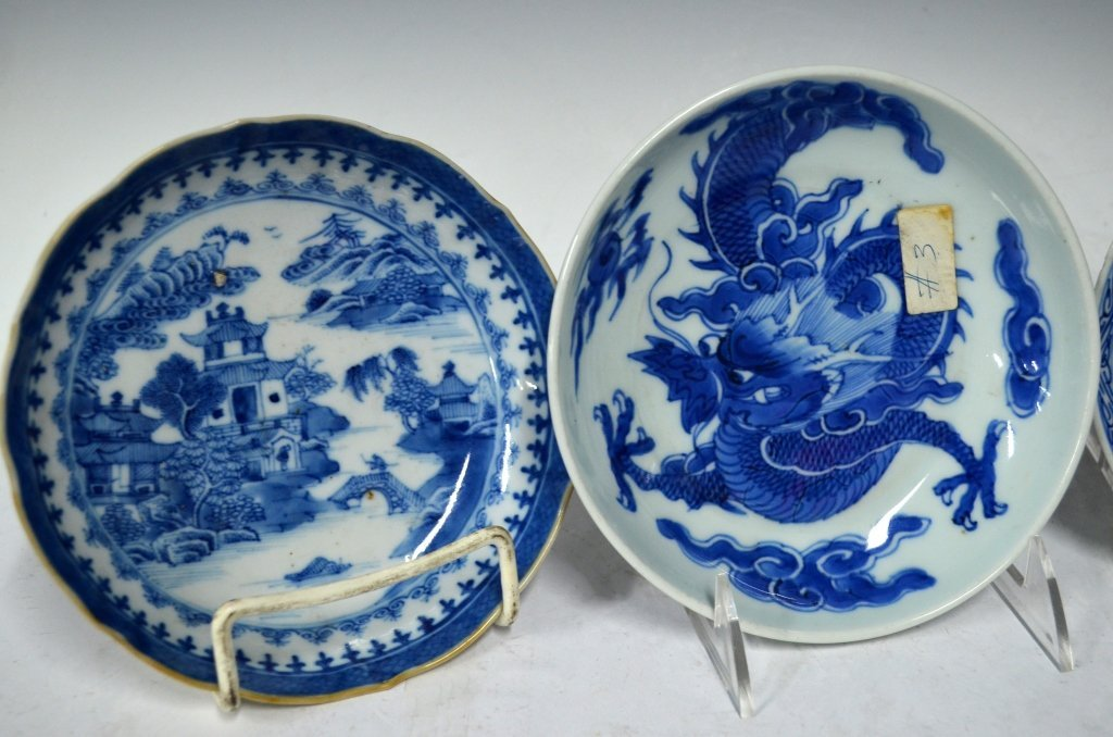 4 Chinese 18/19th Chinese B&W Porcelain Plates - 3