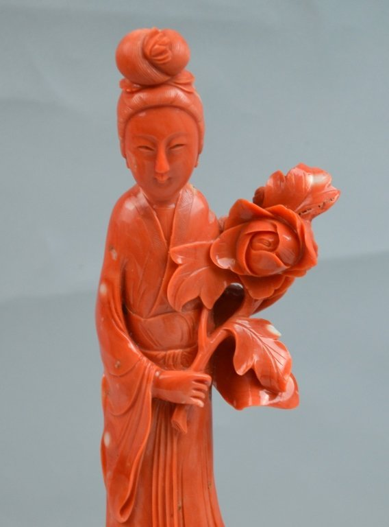 Chinese Coral Carved of Immortal Lady - 2