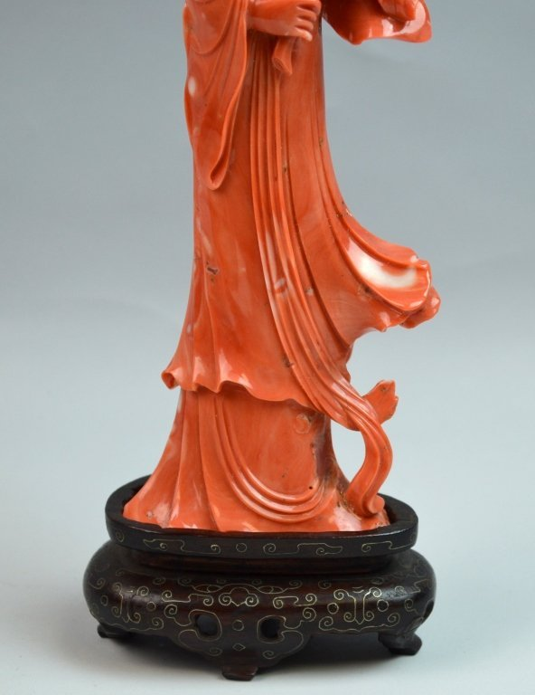 Chinese Coral Carved of Immortal Lady - 3