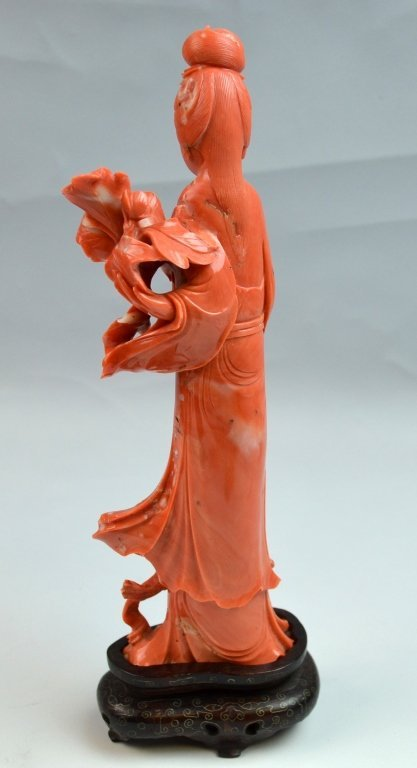 Chinese Coral Carved of Immortal Lady - 4